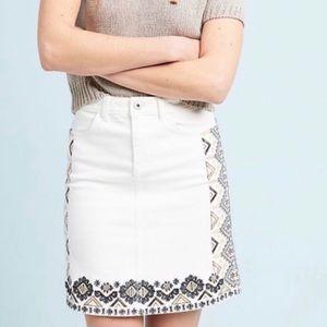 New! Anthropologie Pilcro Embroidered Denim Skirt